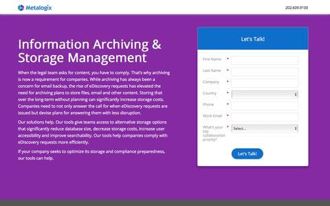 Screenshot of Landing Page metalogix.com - Information Archiving & Storage Management | Metalogix - captured Nov. 10, 2017