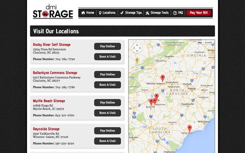 Screenshot of Locations Page dmistorage.com - Visit Our Locations   DMI Storage - captured Oct. 26, 2014