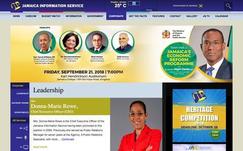 Screenshot of Team Page jis.gov.jm - Leadership - Jamaica Information Service - captured Sept. 22, 2018