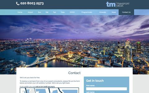 Screenshot of Contact Page transportmedia.co.uk - Contact us - captured Oct. 19, 2018