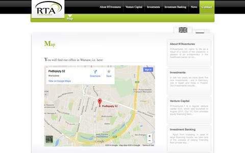 Screenshot of Maps & Directions Page rtaventures.com - RTAventures » Map - fundusz VC - venture capital dla ochrony zdrowia i nowych technologii - wholehearted to support most talented entrepreneurs - captured Oct. 7, 2014