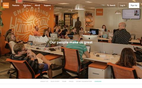Screenshot of Jobs Page chimp.net - Chimp | Careers - Our people make us great - captured Aug. 29, 2016