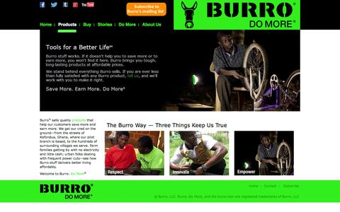 Screenshot of Home Page burrobrand.biz - BURRO - captured Oct. 5, 2014
