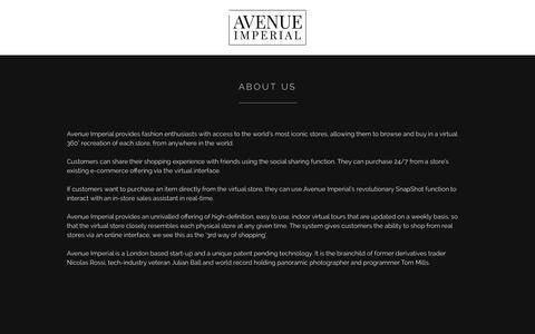 Screenshot of About Page avenueimperial.com - Avenue Imperial – Virtual shopping for designer luxury fashion brands - captured Sept. 19, 2014