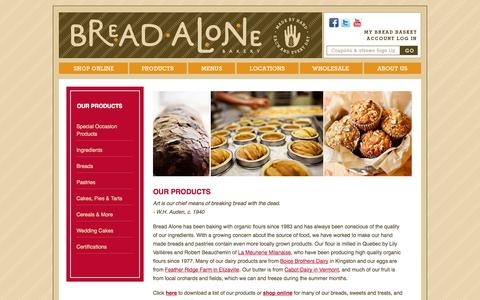 Screenshot of Products Page breadalone.com - Our Products | Bread Alone Bakery - captured Oct. 5, 2014