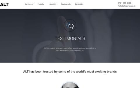 Screenshot of Testimonials Page altagency.co.uk - Client Testimonials | ALT Agency - captured Oct. 23, 2017
