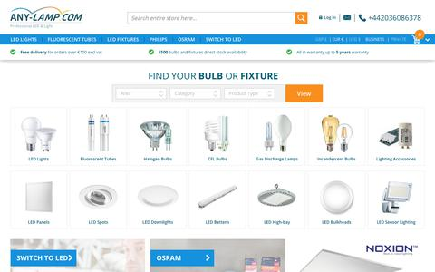 Screenshot of Home Page any-lamp.com - Light bulbs by Philips, cheap, fast, reliable, light bulb in stock   | Any-lamp - captured June 26, 2017