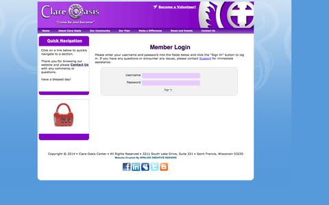 Screenshot of Login Page clare-oasis.org - Login to Clare Oasis - captured Nov. 7, 2016