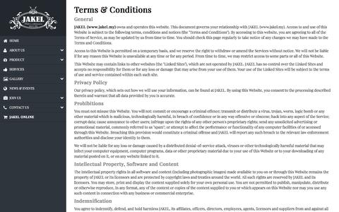 Screenshot of Terms Page jakel.my - Terms & Conditions – Jakel - captured Sept. 23, 2018