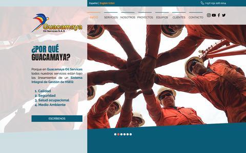 Screenshot of Home Page guacamayaoils.com - Industria del petróleo y gas | Colombia | Guacamaya Oil Services S.A.S - captured Sept. 30, 2018