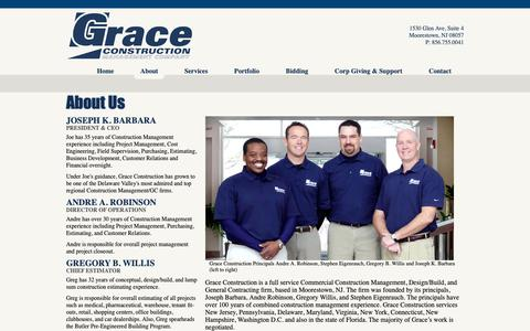 Screenshot of About Page gracecm.com - Grace Construction Management Company - captured Sept. 30, 2018