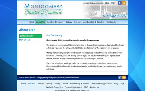 Screenshot of About Page montgomeryohiochamberofcommerce.com - Montgomery Chamber of Commerce - about-us - captured Sept. 21, 2018