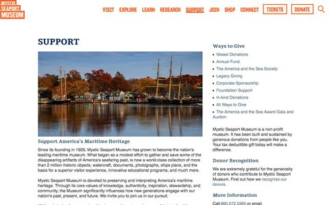 Screenshot of Support Page mysticseaport.org - Mystic Seaport Museum - Support - Find Out Ways to Give Back!Mystic Seaport - captured Sept. 20, 2019