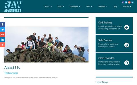 Screenshot of Testimonials Page raw-adventures.co.uk - RAW Adventures - Mountain Activities, Training and Events - About Us - Testimonials - captured Nov. 7, 2018