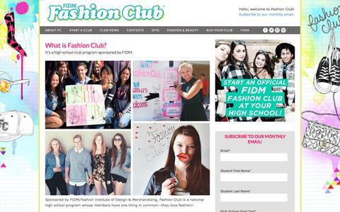 Screenshot of About Page Contact Page fashionclub.com - What is Fashion Club? | FashionClub.com – FIDM Fashion Club® Official Site - captured Jan. 10, 2017