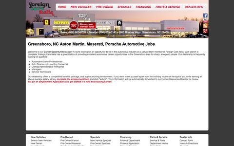Screenshot of Jobs Page foreigncarsitalia.com - Aston Martin, Maserati, Porsche Greensboro, NC | Automotive Dealership Careers & Jobs at Foreign Cars Italia - captured Sept. 30, 2014