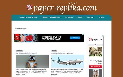 Screenshot of Home Page paper-replika.com - Latest Paper Model - captured Jan. 15, 2016