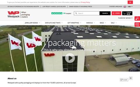 Screenshot of About Page westpack.com - About Westpack - Leading Supplier of Jewellery Packaging and Display - captured June 29, 2018