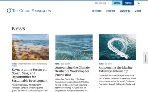 Screenshot of Press Page oceanfdn.org - News Archives - The Ocean Foundation - captured Oct. 14, 2019