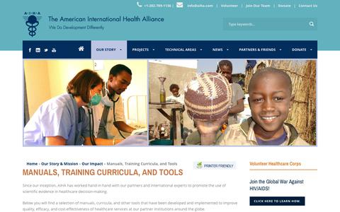 Screenshot of Products Page aiha.com - American International Health Alliance (AIHA.com)  Manuals, Training Curricula, and Tools - American International Health Alliance (AIHA.com) - captured Feb. 6, 2016