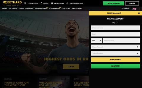Screenshot of Signup Page bethard.com - Sportsbook, Casino, Live Casino and Virtual Sports at Bethard - captured June 22, 2018