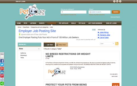 Screenshot of Jobs Page petclue.com - Search results in Jobs | Classified Results - captured Sept. 29, 2014