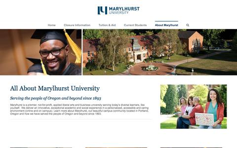 Screenshot of About Page marylhurst.edu - About Marylhurst - Marylhurst University - captured May 20, 2018