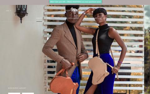 Screenshot of Home Page orijinstore.com - Orijin Culture | Luxury African inspired fashion accessories brand – SHOP | Orijin Boutique - captured Sept. 24, 2018