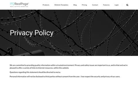 Screenshot of Privacy Page myrealpage.com - Privacy Policy - captured Sept. 23, 2018