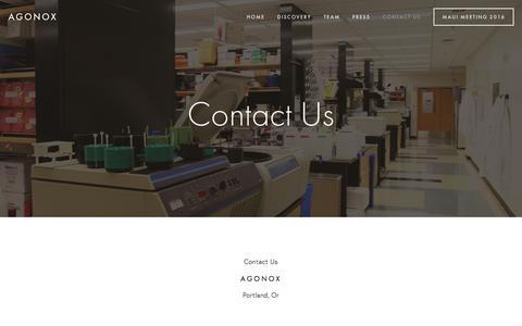 Screenshot of Contact Page agonox.com - Contact Us — AgonOx - captured Feb. 5, 2016