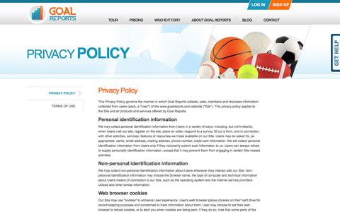 Goal Reports - Privacy Policy