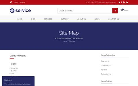Screenshot of Site Map Page e-service.co.uk - Site Map - E-Service - captured Sept. 25, 2018