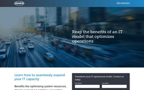 Screenshot of Landing Page datalink.com - Reap the benefits of an IT model that optimizes operations | Datalink - captured Sept. 25, 2016