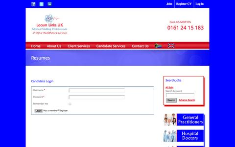 Screenshot of Login Page locumlinksuk.com - Locum Links UK Login - captured Sept. 30, 2014
