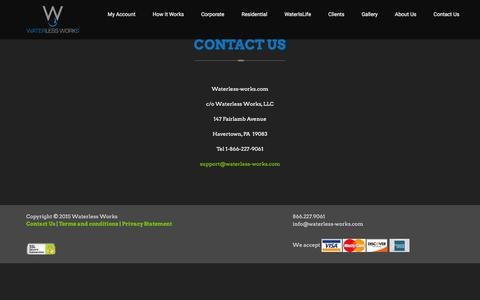 Screenshot of Contact Page waterless-works.com - Waterless Works | Contact Us - captured Jan. 10, 2016