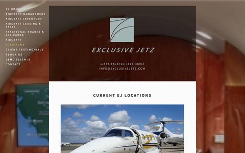 Screenshot of Locations Page exclusivejetz.com - Locations Ń Exclusive Jetz - captured Dec. 12, 2015