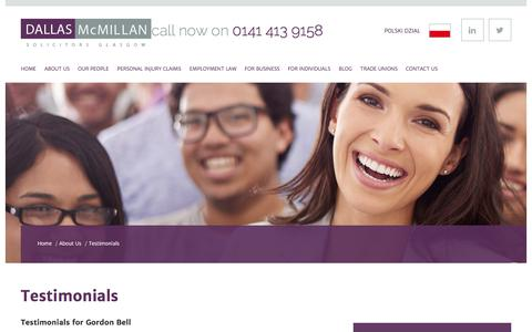 Screenshot of Testimonials Page dallasmcmillan.co.uk - Testimonials | Reviews of Dallas McMillan Solicitors Glasgow - captured June 3, 2017