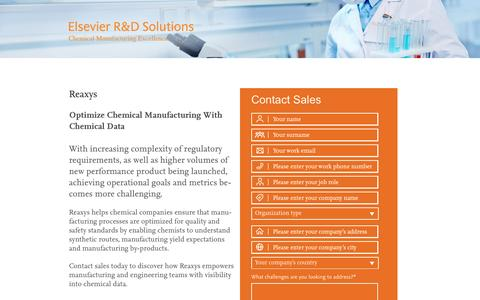 Screenshot of Landing Page elsevier.com - RX Chemical Manufacturing Excellence - captured May 20, 2016