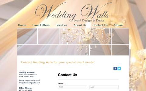 Screenshot of Contact Page weddingwalls.com - Wedding Walls Contact Us - captured Jan. 3, 2017