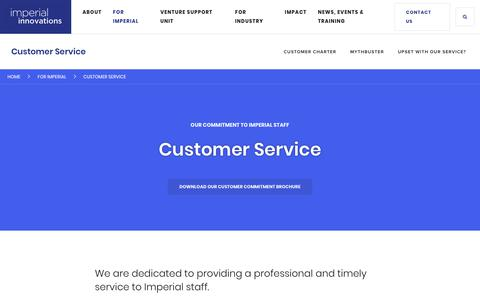 Screenshot of Support Page imperialinnovations.co.uk - Customer Service - captured July 13, 2018