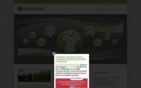 Screenshot of Home Page biomod.com - Biomod - captured Oct. 5, 2014