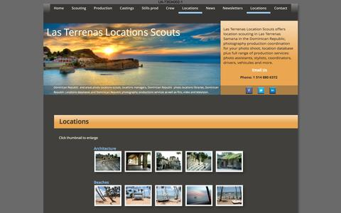 Screenshot of Locations Page las-terrenas-locations-scouts.com - Samana LasTerrenas Locations Scouts; Films, TV, Videos, Stills 's in Dominican Republic - captured March 5, 2016