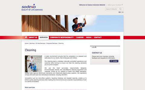 Screenshot of Services Page sodexo.com - Cleaning services for an ideal working environment - captured July 8, 2019