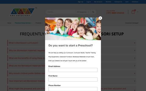 Screenshot of FAQ Page kidkenmontessori.com - Frequently Asked Questions - Montessori Setup KidKen Edu Solutions - captured Oct. 15, 2018