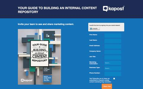 Screenshot of Landing Page kapost.com - Your Guide to Building an Internal Content Repository - captured March 14, 2016