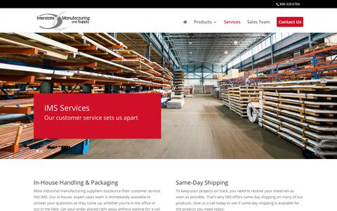 Screenshot of Services Page imsspssales.com - Services | Interstate Manufacturing and Supply - captured Oct. 15, 2017