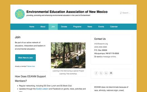 Screenshot of Signup Page eeanm.org - Join - Environmental Education Association of New Mexico - captured Aug. 13, 2017