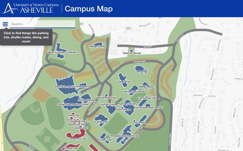 Screenshot of Maps & Directions Page unca.edu - UNC Asheville | Campus Map - captured July 2, 2018