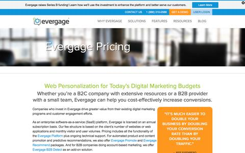 Screenshot of Pricing Page evergage.com - Evergage Pricing | Web Personalization For Today's Budget - captured Jan. 19, 2016