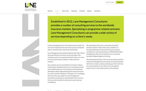 Screenshot of About Page lanemc.co.uk - Lane Management Consultants | Project Related Contract Specialists Solvency II, Managing the Cycle - captured Oct. 1, 2014
